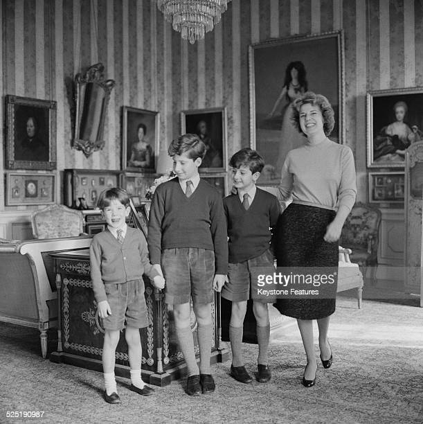 Cayetana FitzJames Stuart 18th Duchess of Alba with her three sons at the Liria Palace Madrid 17th March 1959The boys are Alfonso Martínez de Irujo...