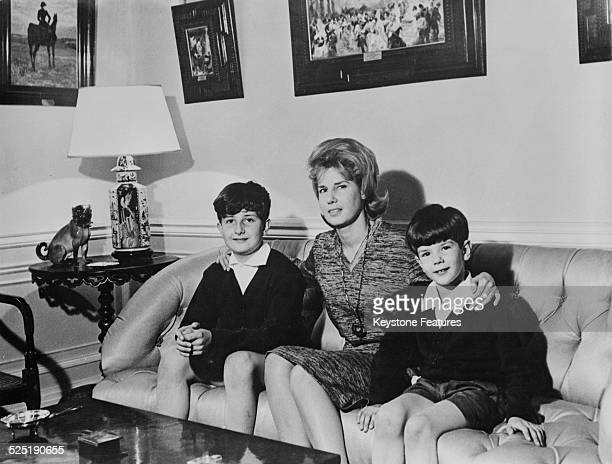 Cayetana FitzJames Stuart 18th Duchess of Alba with two of her sons Jacobo FitzJames Stuart 23rd Count of Siruela and Alfonso Martínez de Irujo 15th...