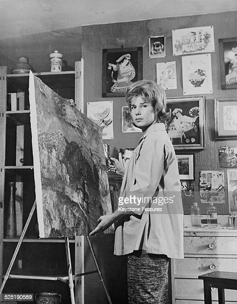 Cayetana FitzJames Stuart 18th Duchess of Alba working on one of her paintings at the Liria Palace Madrid 16th June 1961
