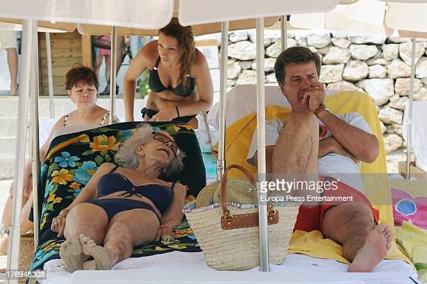 Cayetana FitzJames Stuart Duchess of Alba and her son Cayetano Martinez de Irujo are seen on August 17 2013 in Ibiza Spain