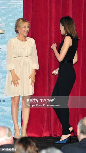 Cayetana Guillen Cuervo and Queen Letizia of Spain attend the SM 'Barco de Vapor' and 'Gran Angular' children and youth literary awards at the Real...