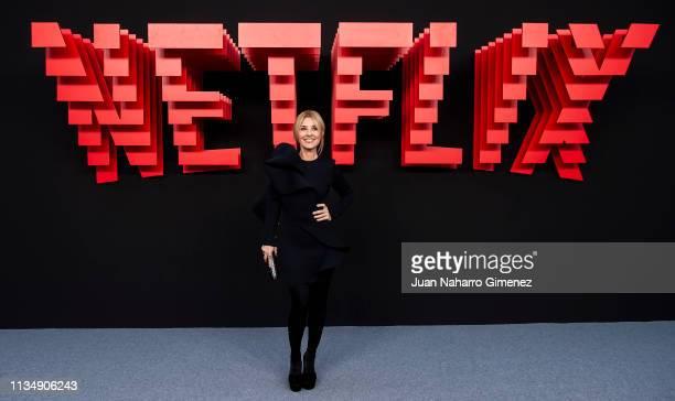 Cayetana Guillen Cuervo attends the red carpet during the Netflix presentation party at the Invernadero del Palacio de Cristal de la Arganzuela on...