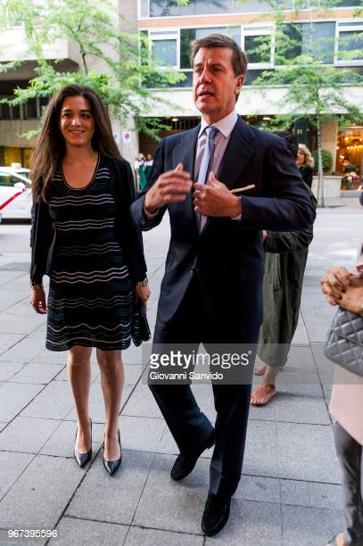 Cayetano Martinez de Irujo and Barbara Mirjan Aliende arrive at the 'Thinking In Your Cloud' charity dinner at the Lux restaurant at on June 4 2018...