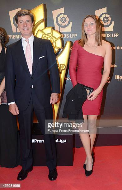 Cayetano Martinez de Irujo and Melanie Costa attend the LFP Awards Gala 2014 on October 27 2014 in Madrid Spain