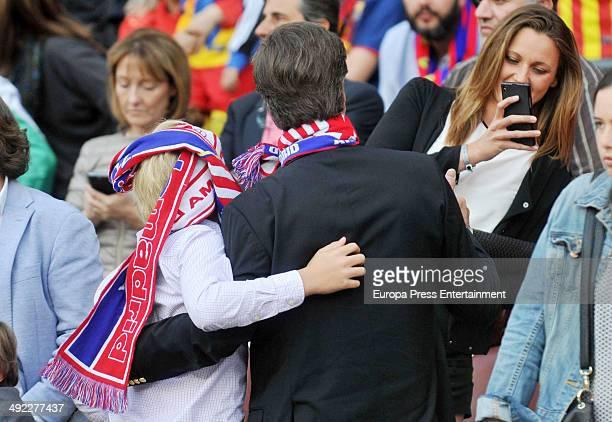Cayetano Martinez de Irujo his son Luis Martinez de Irujo and Melanie Costa attend FC Barcelona v Club Atletico de Madrid the league final match at...