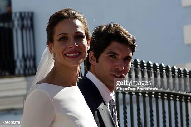 Cayetano Rivera and Eva Gonzalez attend their wedding at Mairena del Alcor on November 6 2015 in Seville Spain
