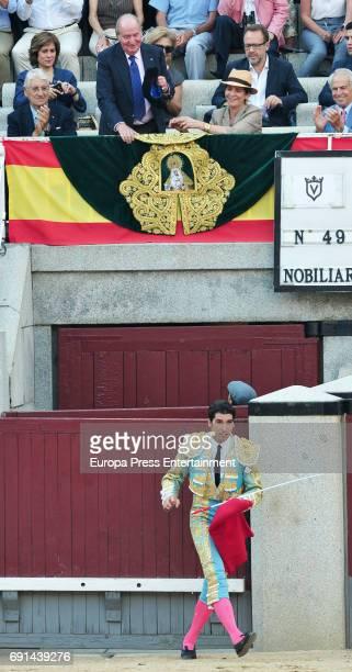 Cayetano Rivera drinks a toast to King Juan Carlos and Princess Elena during San Isidro Fair at Las Ventas Bullring at Las Ventas Bullring on June 1...