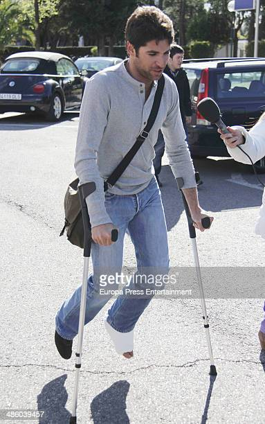 Cayetano Rivera is seen leaving hospital and walking with crutches after falling down during 'El Hormiguero' tv show on March 26 2014 in Madrid Spain