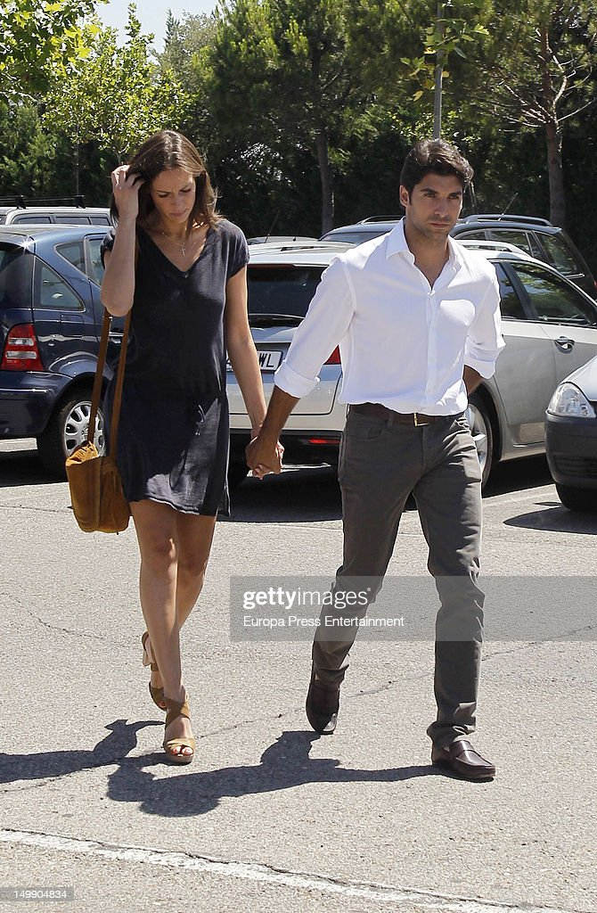 Cayetano Rivera Ordonez and his girlfriend Eva Gonzalez attend Belen Ordonez's funeral on August 3, 2012 in Madrid, Spain. The bullfighter Antonio Ordonez's daughter died in a private center for an enphisema.