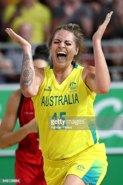 Cayla George of Australia celebrates a three pointer during the Women's Gold Medal Game on day 10 of the Gold Coast 2018 Commonwealth Games at Gold...