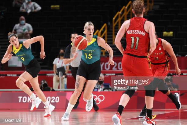 Cayla George of Team Australia brings the ball up the court against Belgium during the first half of a Women's Preliminary Round Group C game on day...