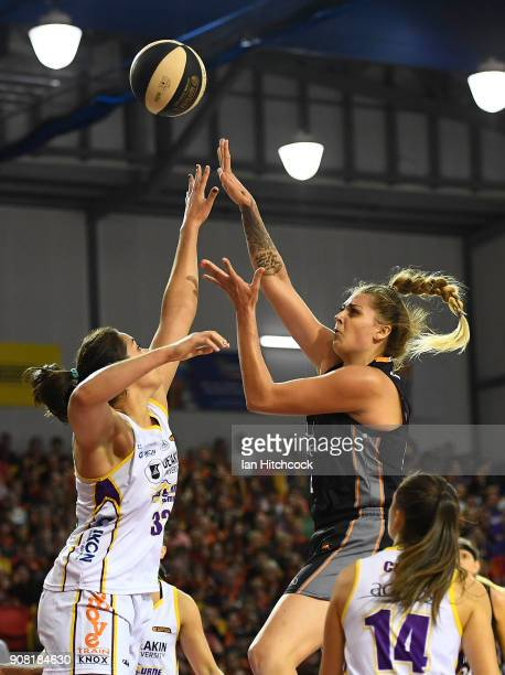 Cayla George of the Fire takes a jump shot during game three of the WNBL Grand Final series between the Townsville Fire and Melbourne Boomers at the...