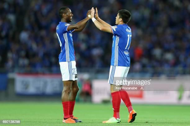 Cayman Togashi and Martinus of Yokohama F.Marinos celebrate their 2-0 victory in the J.League J1 match between Yokohama F.Marinos and Kawasaki...