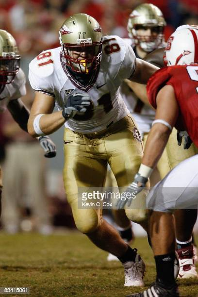 Caz Piurowski of the Florida State Seminoles looks to block during the game against the North Carolina State Wolfpack at Carter-Finley Stadium on...