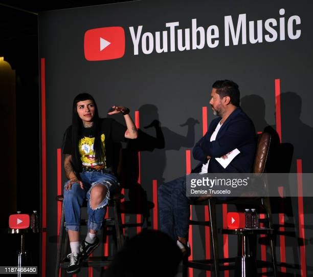 Cazzu and Mauricio Ojeda speak onstage at the YouTube Music Press Brunch at the Latin Grammys 2019 at Bardot Brasserie on November 13 2019 in Las...