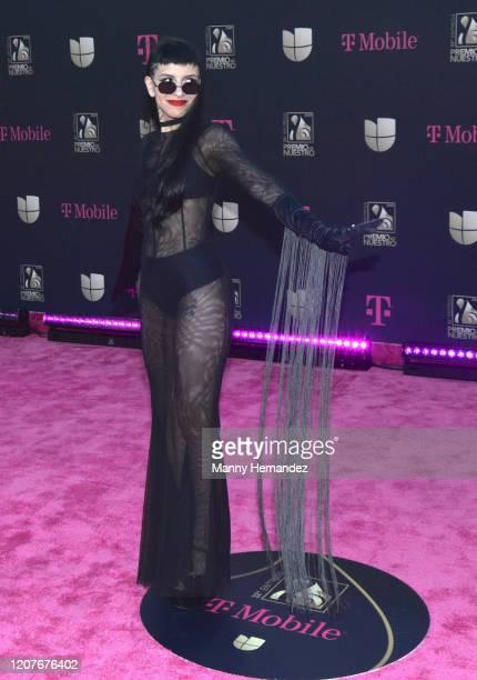 Cazzu attends Univision's Premio Lo Nuestro 2020 at AmericanAirlines Arena on February 20 2020 in Miami Florida