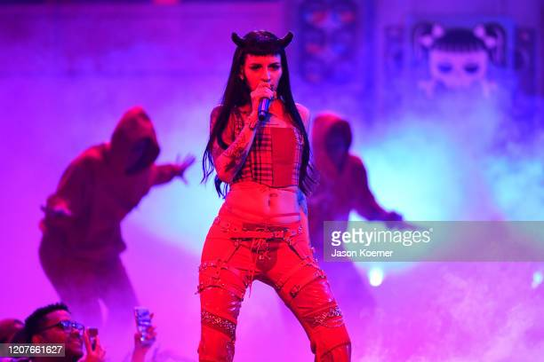 Cazzu performs live on stage during Univision's Premio Lo Nuestro 2020 at AmericanAirlines Arena on February 20 2020 in Miami Florida