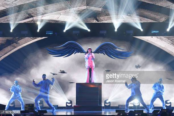 Cazzu performs on stage during Premios Juventud 2019 at Watsco Center on July 18 2019 in Coral Gables Florida