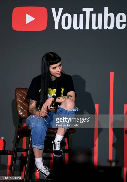 Cazzu speaks onstage at the YouTube Music Press Brunch at the Latin Grammys 2019 at Bardot Brasserie on November 13 2019 in Las Vegas Nevada