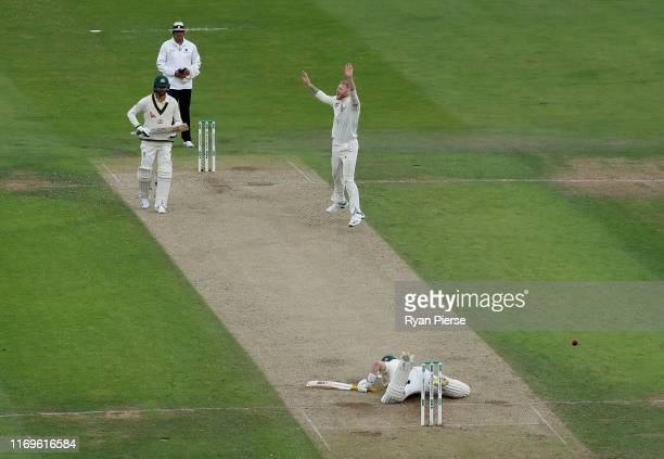 cBen Stokes of Englandcelebrates after taking the wicket of Marnus Labuschagne of Australia during Day One of the 3rd Specsavers Ashes Test match...
