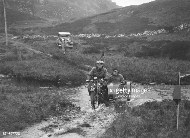 493 cc Triumph and sidecar of HS Perry competing in EDMC Scottish 6 Days Trial 1933 Artist Bill Brunell