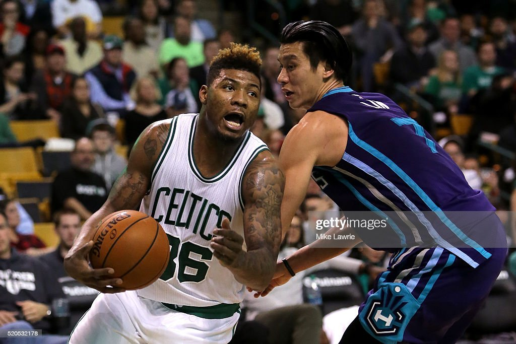 cc26 handles the ball against Jeremy Lin #7 of the Charlotte Hornets in the fourth quarter at TD Garden on April 11, 2016 in Boston, Massachusetts.