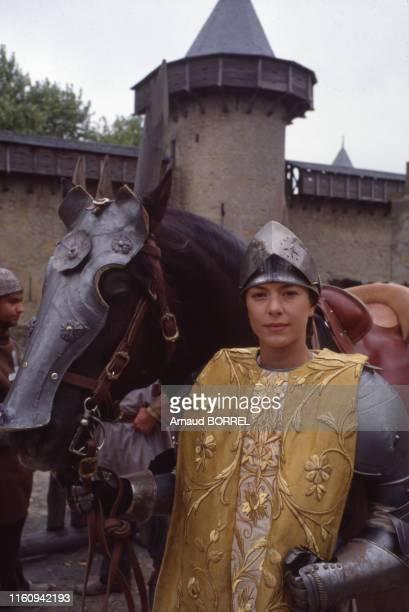 Cécile Magnet sur le tournage du film 'Jeanne d'Arc' le 17 septembre 1988 France