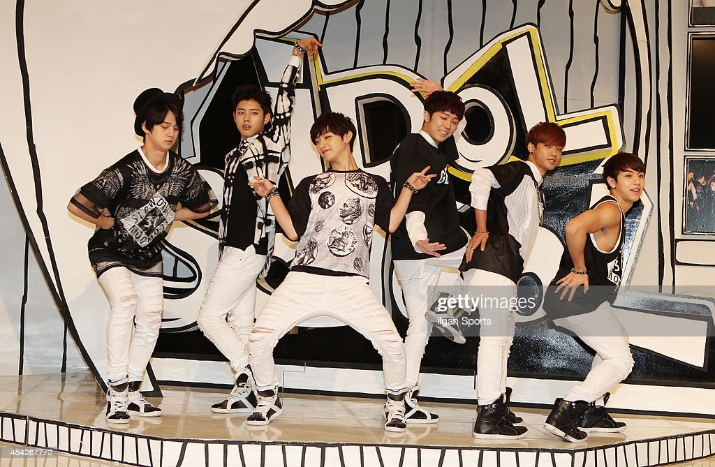 C-Clown pose for photographs during the MBC Music 'Idol School' press conference at Digital Magic Space on August 26, 2014 in Seoul, South Korea.