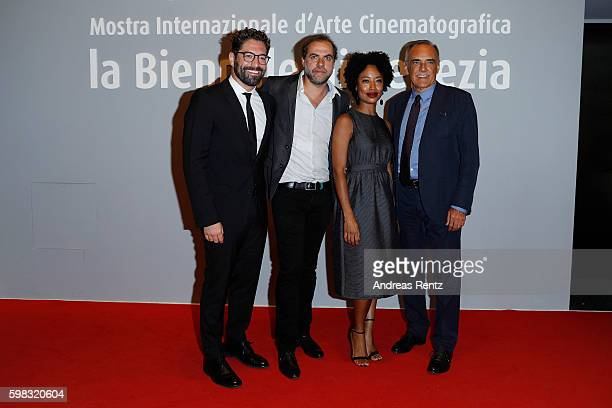 Cctor Nuno Lopes director Marco Martins actress Mariana Nunes and president of the festival Alberto Barbera attend the premiere of 'Saint George'...