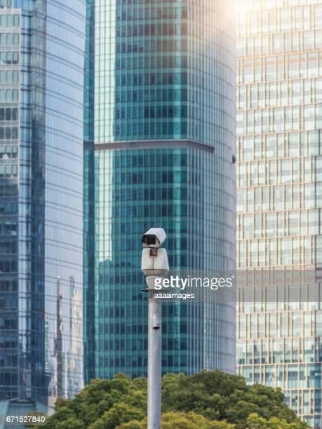 cctv camera front of urban architecture