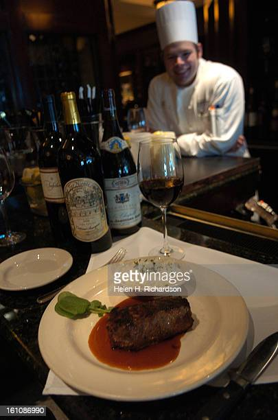 Capital Grille Executive chef Daniel Van Heusden <cq> shows off his dry aged sirloin one of the nice cuts available at the restaurant Diners enjoy...