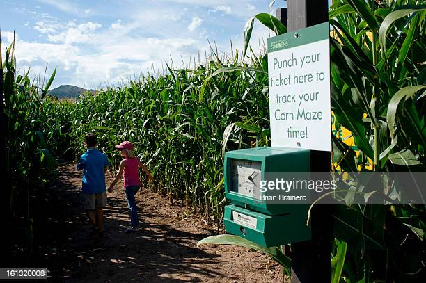 cd04feature_bb_3 8yearolds Nicholas Diamond left and Hannah Trotter are first into the 2008 Corn Maze at Denver Botanic Gardens at Chatfield during...