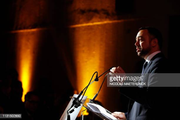 CDH chairman Maxime Prevot delivers a speech at a party forum, entitled 'Comment retablir la confiance des Belges envers l'Etat et ses institutions...