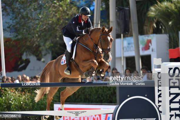 Cédric Angot of France riding Saxo de la Cour during Longines FEI Jumping Nations Cup Final Competition on October 7 2018 in Barcelona Spain