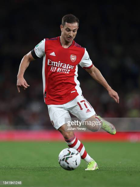 Cédric Soares of Arsenal during the Carabao Cup Third Round match between Arsenal and AFC Wimbledon at Emirates Stadium on September 22, 2021 in...