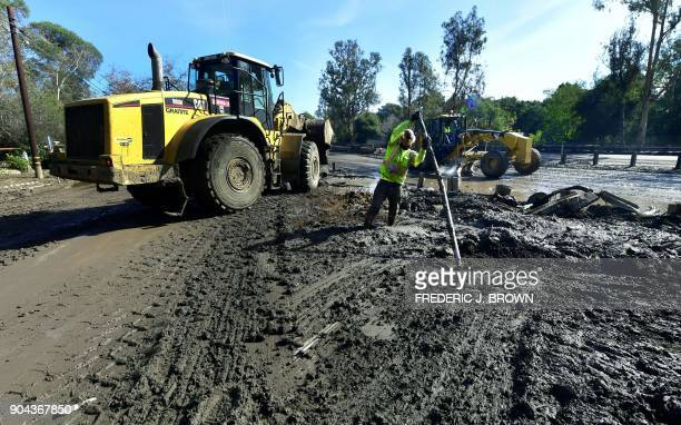 Ceanup operations continue of a section of the US 101 freeway brought to closure from mudflow in Montecito California on January 12 2018 Heavy rains...