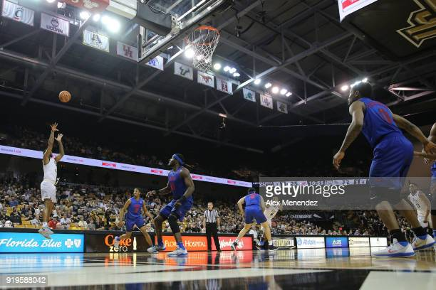 Ceasar DeJesus of the UCF Knights attempts a 3point shot during a NCAA basketball game against the SMU Mustangs at the CFE Arena on February 17 2018...