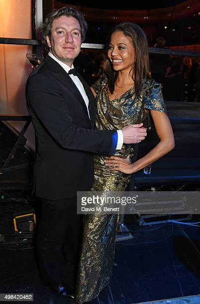 Ceawlin Thynn Viscount of Weymouth and Emma McQuiston Viscountess of Weymouth attend The London Evening Standard Theatre Awards after party in...