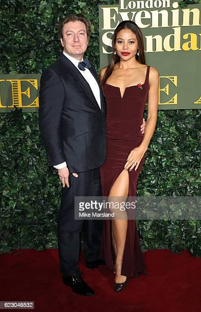 Ceawlin Thynn Viscount of Weymouth and Emma McQuiston Viscountess of Weymouth attend The London Evening Standard Theatre Awards at The Old Vic...