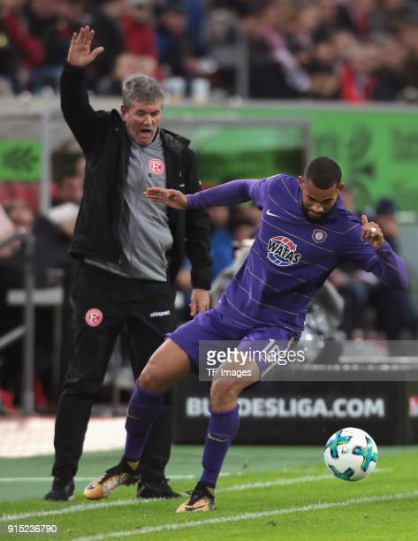 Cebio Soukou of Aue controls the ball during the Second Bundesliga match between Fortuna Duesseldorf and FC Erzgebirge Aue at ESPRIT arena on January...
