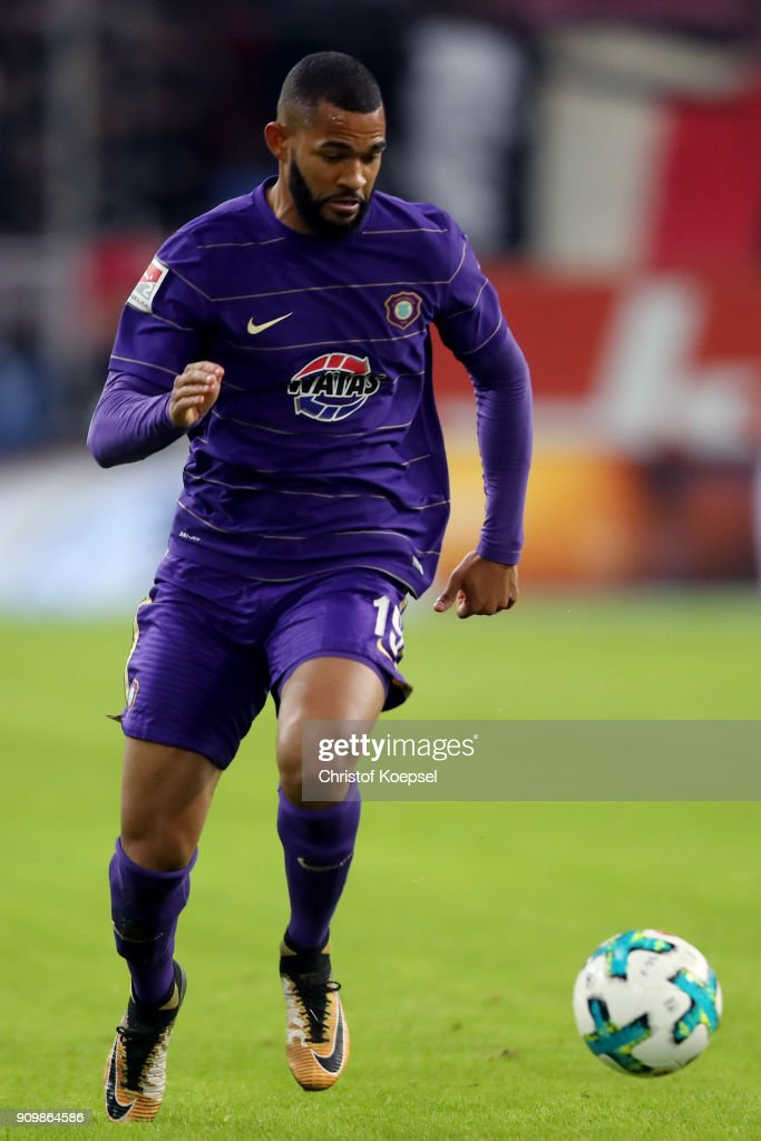 Cebio Soukou of Erzgebirge Aue runs with the ball during the Second Bundesliga match between Fortuna Duesseldorf and FC Erzgebirge Aue at Esprit-Arena on January 24, 2018 in Duesseldorf, Germany. The match between Duesseldorf and Aue ended 2-1.