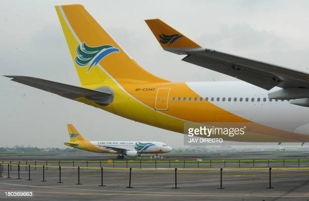 Cebu Pacific the brand-new Airbus A330-300 from Toulouse, France is seen during a ceremony at Manila's international airport on September 12, 2013....