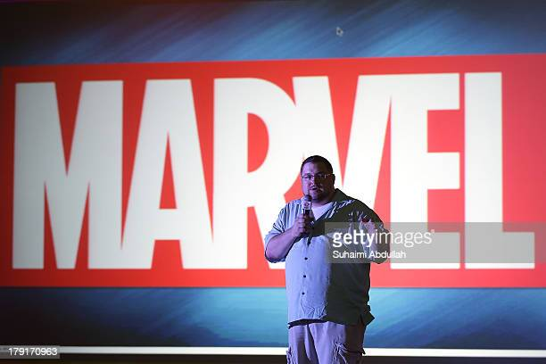 Cebulski , Senior Vice President Marvel Studios/Disney speaks during the Singapore Toy, Game & Comic Convention at the Sands Expo & Convention Centre...