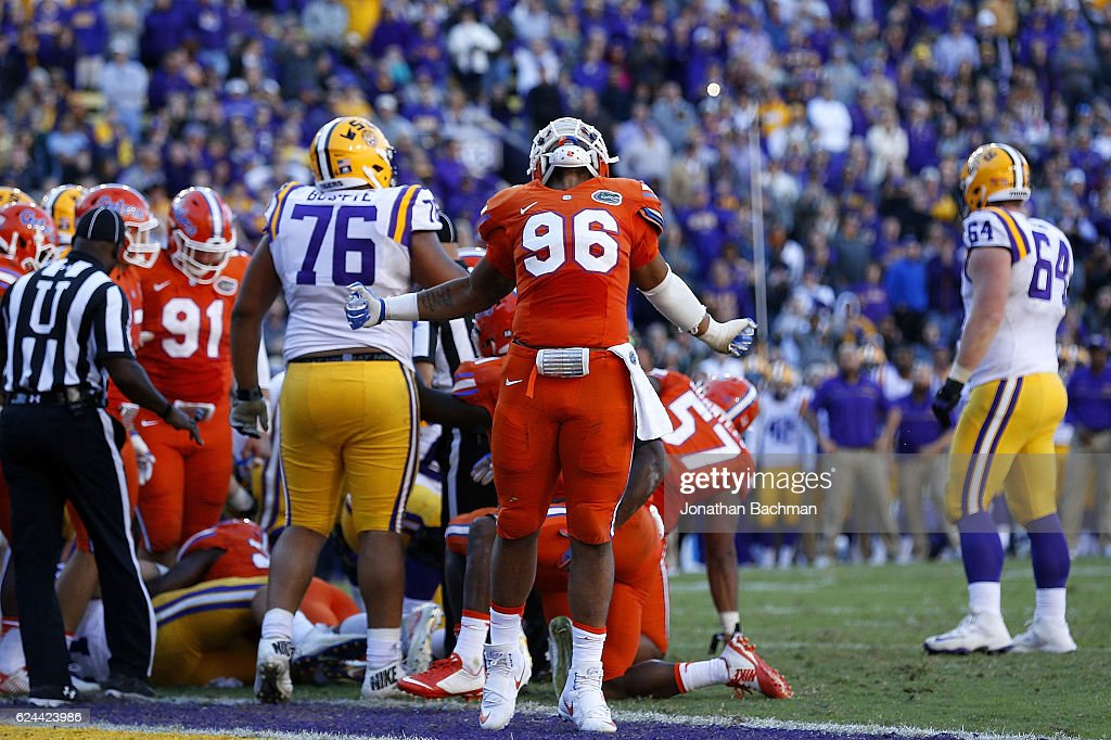 Cece Jefferson #96 of the Florida Gators celebrates after Florida stopped the LSU Tigers on fourth down to win the game at Tiger Stadium on November 19, 2016 in Baton Rouge, Louisiana. Florida won 16-10.