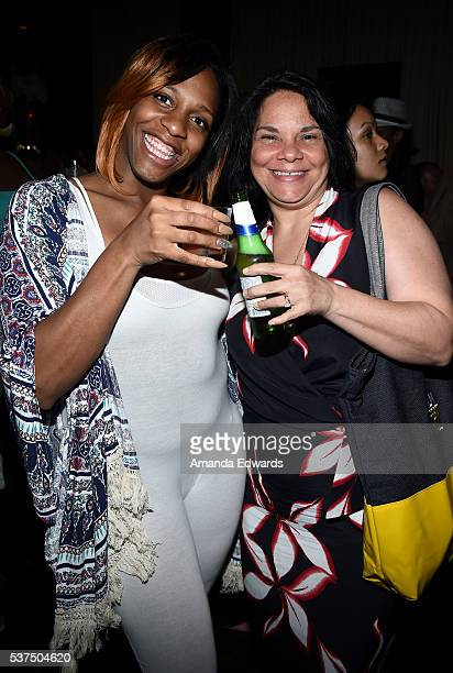 """CeCe McDonald and filmmaker Jac Gares attend the after party for the premiere of """"Lowriders"""" during opening night of the 2016 Los Angeles Film..."""