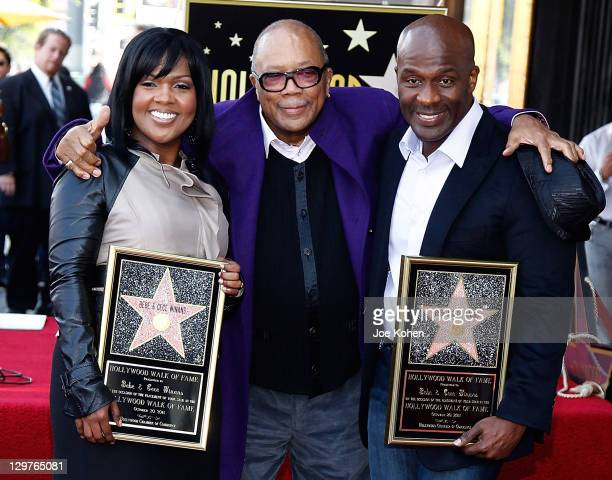 CeCe Winans Quincy Jones and BeBe Winans attend the Hollywood Walk Of Fame Induction Ceremony on October 20 2011 in Hollywood California