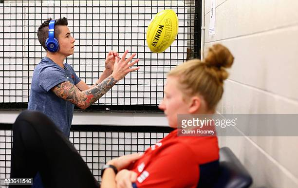 Ceceila McIntosh of the demons ahead of the women's AFL match between the Melbourne Demons and the Brisbane Lions at Melbourne Cricket Ground on May...