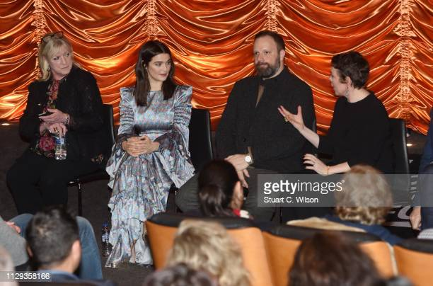 Ceci Dempsey Rachel Weisz Yorgos Lanthimos and Olivia Colman attend The Favourite London QA at Twentieth Century Fox on February 12 2019 in London...