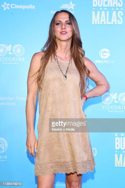 Ceci Ponce poses for photos during the red carpet of the film 'En las Buenas y en las Malas' on March 12 2019 in Mexico City Mexico