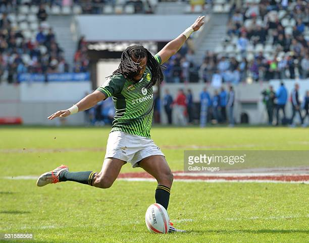 Cecil Afrika of South Africa converts a try during the Plate final between South Africa and Australia on Day 3 of the HSBC Paris Sevens at Stade Jean...